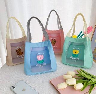 【milkjoy】パステルカラーが可愛いメッシュミニトートバッグ(全3色)