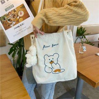 コーデュロイ素材が可愛い♪クマさんデザインのおしゃれトートバッグ(全3色)