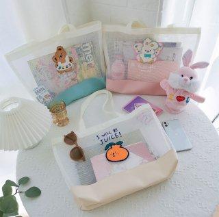【milkjoy】シリーズ最大サイズ♪キャラクターが可愛いメッシュトートバッグ(全3種)