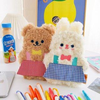 【milkjoy】クマさん・うさぎさんのモフモフペンケース♪(全2種)