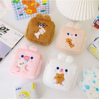 【milkjoy】ナプキンポーチ最大サイズ!もふもふな可愛いナプキンポーチ♪小物ポーチにも!(全4種)
