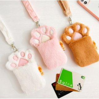 【milkjoy】ネックストラップ付♪もふもふな猫の手型カードケース(全3色)
