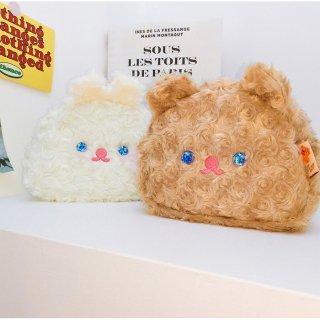 【milkjoy】目がキラキラ♪クマさん・うさぎさんの大きめモフモフポーチ!ペンケース・メイクポーチに!(全2色)