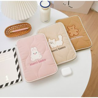 【milkjoy】iPad miniやKindleポーチに!ガーリーな綿のiPadポーチ♪(全3色)