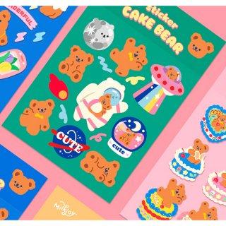【milkjoy】クマさんの可愛いキャラクターシール♪(全4種)