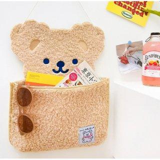 【milkjoy】クマさんのもこもこ壁かけポケット♪(全3色)