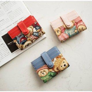 【ErangBear】13枚収納可!クマさんの絵柄がお洒落な折りたたみカード入れ(全3色)