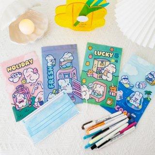 【milkjoy】マスク入れや文房具入れに!うさぎさんの可愛いチャック付き袋(全4種)