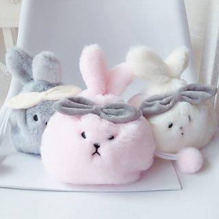 可愛いもふもふなウサギさんの巾着ポーチ(全3色・2パターン)