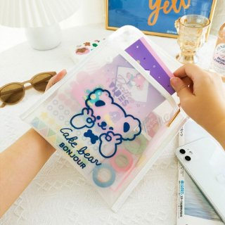 【milkjoy】クマさんの半透明薄型ビニール製ポーチ♪文房具や小物入れに!