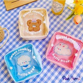 【milkjoy】内側刺繍のちょっと変わったスケルトン正方形ポーチ♪(全3色)