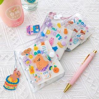 【milkjoy】キーホルダー付き!ビニール製の可愛い透明ミニダイアリー(全3種)