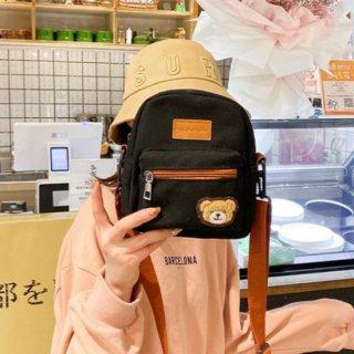 【訳ありアウトレット品】クマさんのクラシカルデザインなショルダーバッグ(580円引き)