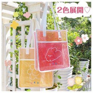 【milkjoy】外側ポケット付き♡ビビットカラーが可愛いメッシュトートバッグ(全2種)
