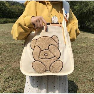 【訳ありアウトレット品】クマさんの大きな刺繍入り♪A4雑誌がすっぽり入るショルダーバッグ(50%引き)