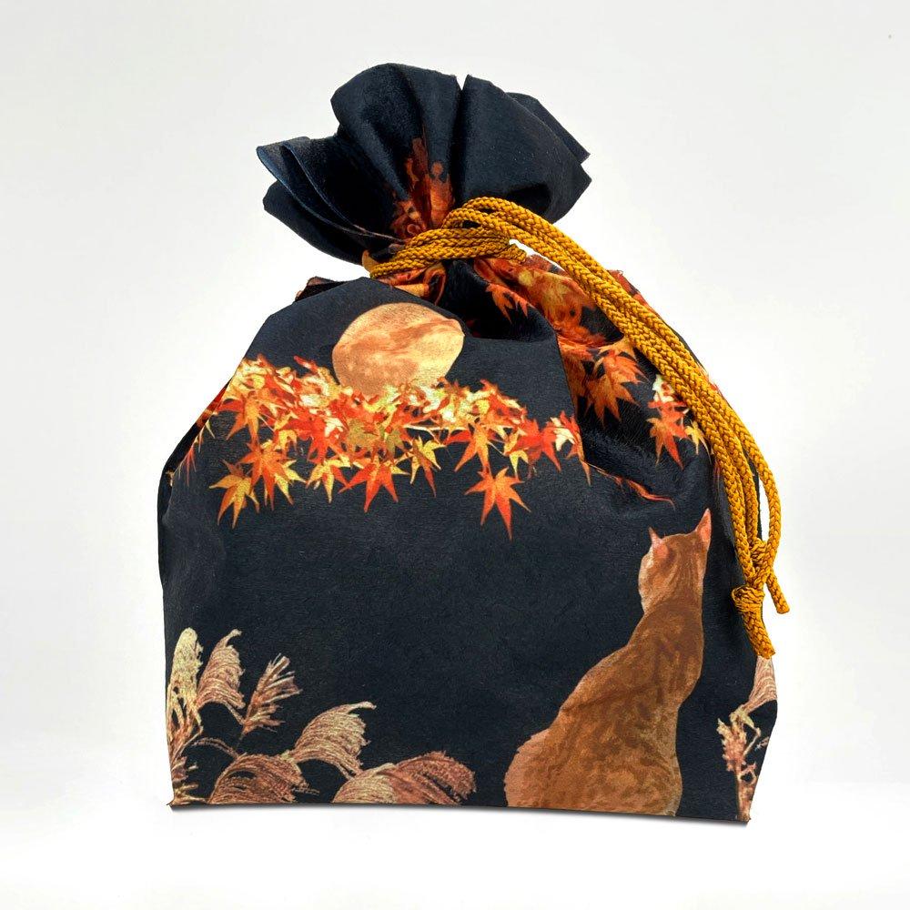 季節柄の巾着袋 秋の夜月