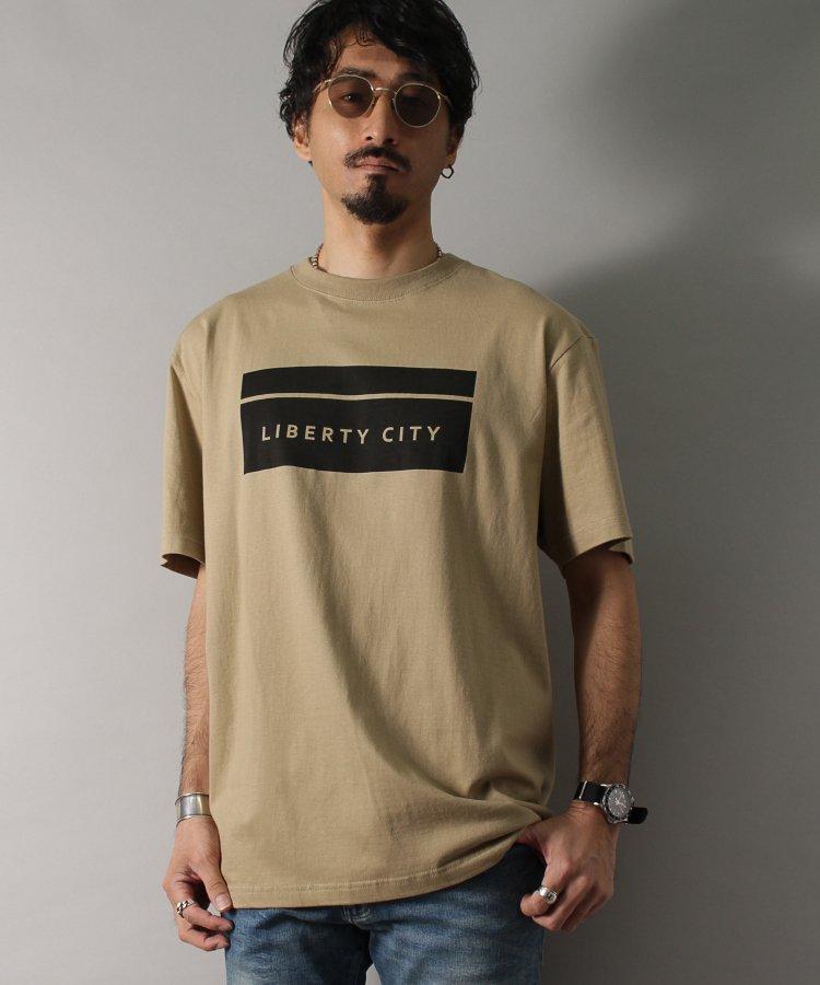 【LIBERTY CITY/リバティーシティ】 [BOX LOGO] Tシャツ <ホワイト・ブラック・ベージュ><img class='new_mark_img2' src='https://img.shop-pro.jp/img/new/icons8.gif' style='border:none;display:inline;margin:0px;padding:0px;width:auto;' />