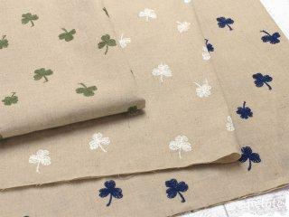 ハーフリネンシーチング クローバーレース刺繍|生地 布 コットンリネン 四つ葉 刺しゅう ハンドメイド
