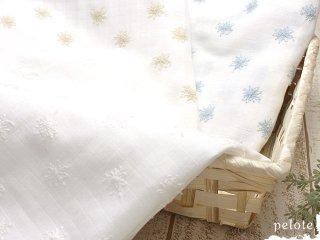 格子ダブルガーゼ 花柄レース刺繍|生地 布 Wガーゼ 薄手 コットン100% 手芸 手作り 布マスク