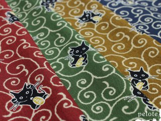 コットンシーチング 唐草ネコ |生地 布 猫 ねこ 招き猫 縁起もの 和柄 和風 薄手 ハンドメイド 綿100%