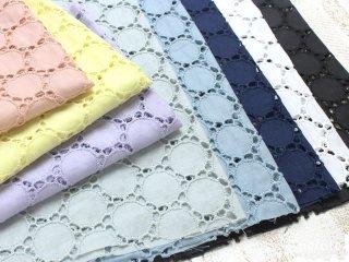 60ローン カットワークサークルレース|生地 布 レース生地 刺繍 薄手コットン ハンドメイド 綿100% 日本製