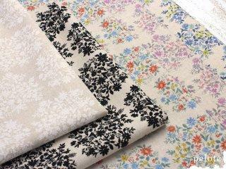 綿麻キャンバス フラワーブーケ|生地 布 コットンリネン 花柄 ナチュラル おしゃれ