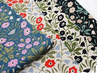 綿麻キャンバス シェイナの花(う早この布)|生地 布 コットンリネン 綿麻 花柄 フラワープリント 北欧風