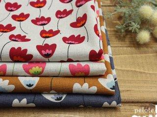 綿麻キャンバス 北欧のお花畑|コットンリネン 生地 花柄 北欧風 バッグ地 ハンドメイド