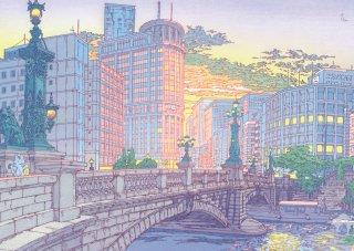 つちもちしんじクリアファイル「夕暮れの日本橋」/ Shinji Tsuchimochi's A4 Folder