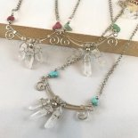 ペルー水晶の三連お守りネックレス&ピアス
