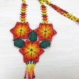 【ビーズアクセサリー】お花のビーズネックレス(メキシコ製)(エスニックコーデ)