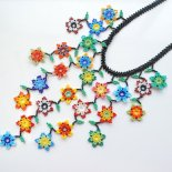 【ビーズアクセサリー】小花のカーテンネックレス(メキシコ製)(エスニックコーデ)