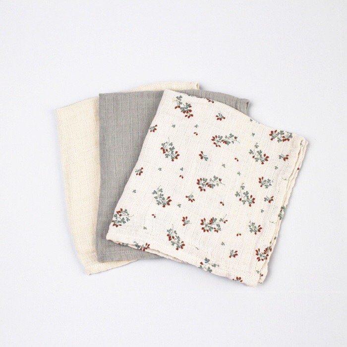 ハンカチ Clover Muslin Burp Cloths 3色セット