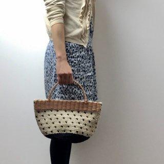 持ち手ラタンの麻紐トートバッグ【マルシェ】ツブツブ/オフ白×黒