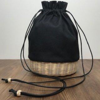 帆布とラタンの巾着バッグ/ショルダーバッグ/斜め掛けバッグ/ポシェット【大】黒