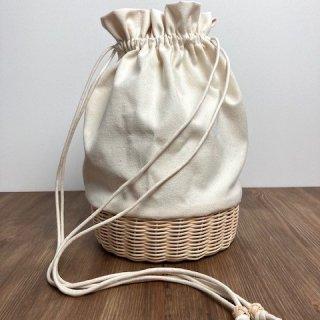 帆布とラタンの巾着バッグ/ショルダーバッグ/斜め掛けバッグ/ポシェット【大】/キナリ