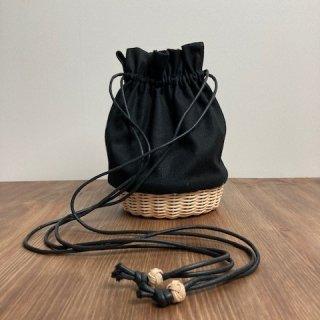 帆布とラタンの巾着バッグ/ショルダーバッグ/斜め掛けバッグ/ポシェット【小】黒