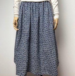【浴衣リメイク】ギャザースカート/グレー地にオフ白抽象柄