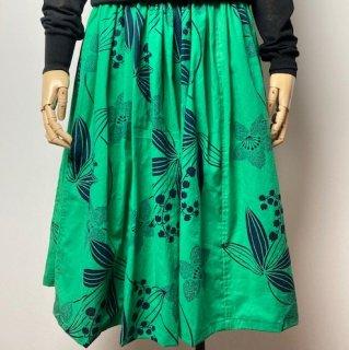 【浴衣リメイク】ギャザースカート/緑地に黒植物花柄