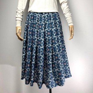 【着物リメイク】タック&ギャザースカート/紺×オフ白×サーモンピンク
