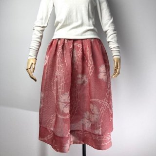 【着物リメイク】タック&ギャザースカート/赤×白チェックにグレー花
