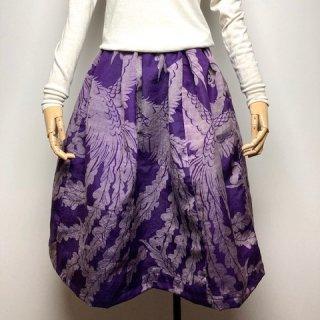 【着物リメイク】タック&ギャザースカート/紫地に孔雀・ハート