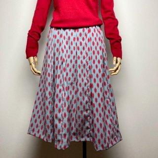 【着物リメイク】タック&ギャザースカート/ブルーグレー地に赤変形ドット