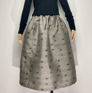 【着物リメイク】タック&ギャザースカート/薄グレー地にチェック・カラフルドット
