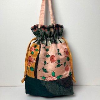 【着物・帯リメイク】巾着トートバッグ/オレンジに花帯地・紬・銘仙