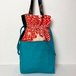 【着物・襦袢リメイク】巾着トートバッグ/ブルー綿・オフ白×赤・紺銘仙