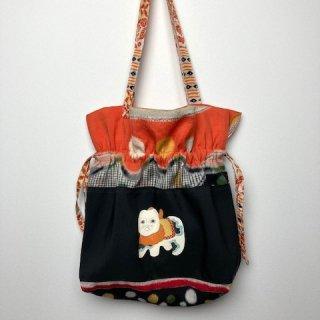 【着物・帯・襦袢リメイク】巾着トートバッグ/黒字に狛犬・オレンジ銘仙ドット
