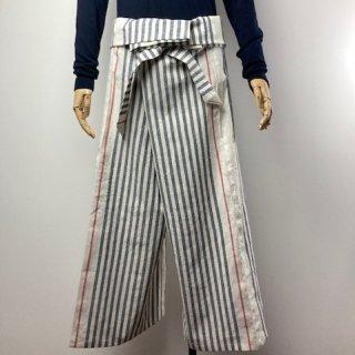 【遠州綿紬】タイパンツ/大名縞・オフ白