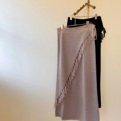 SELECT fringe wrap skirt