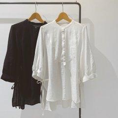 SELECT side ribbon blouse